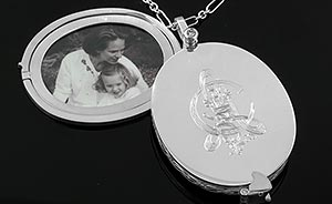 silver locket with cameo
