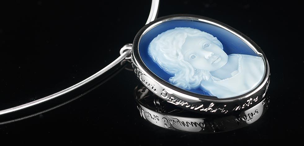blue agate cameo portrait pendant