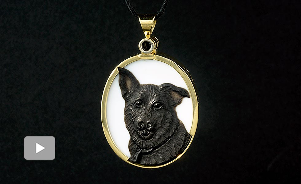 cameo portrait of pet dog
