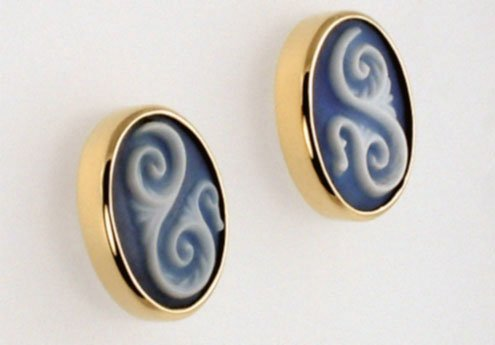 Custom Earrings with Cameo Scroll Design
