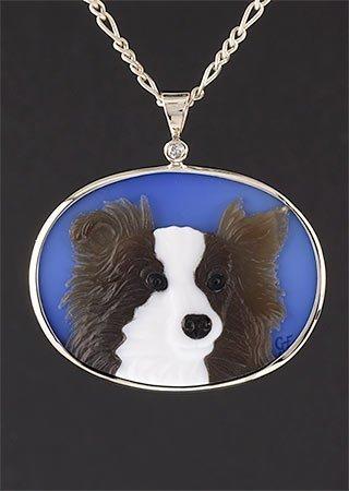 Dog Cameo with Gemstone Inlay
