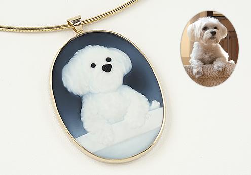 Pet Portrait Memorial Jewelry cameo of dog