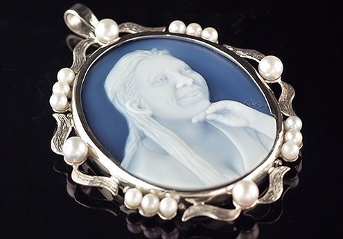 White gold Blue Cameo Necklace