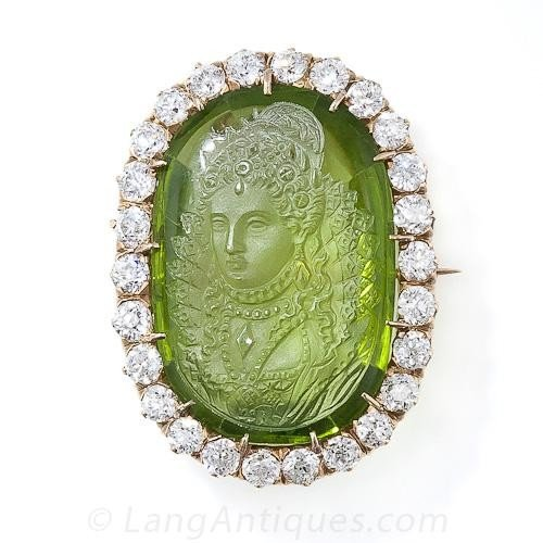 antique-carved-peridot-cameo-and-diamond-brooch-pendant