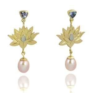 tanzanite-gold-pearl-lotus-flower-earrings