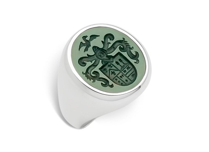 Family Crest Rings-Lapis Lazuli-Bloodstone-Blue-Agate [USA]