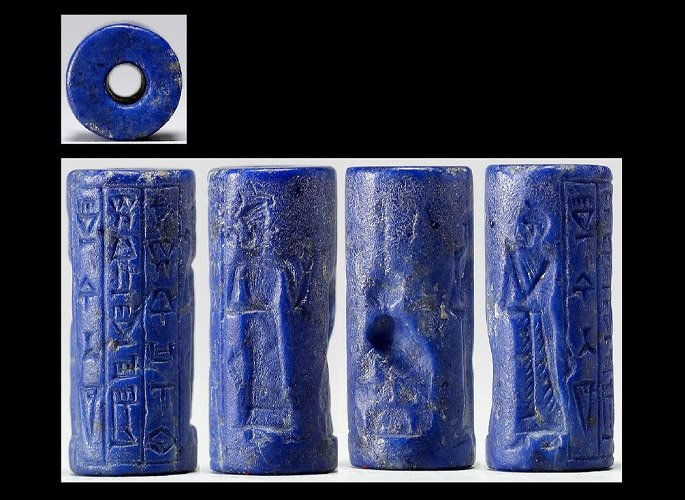 lapis cylindrical seal mesopotamian