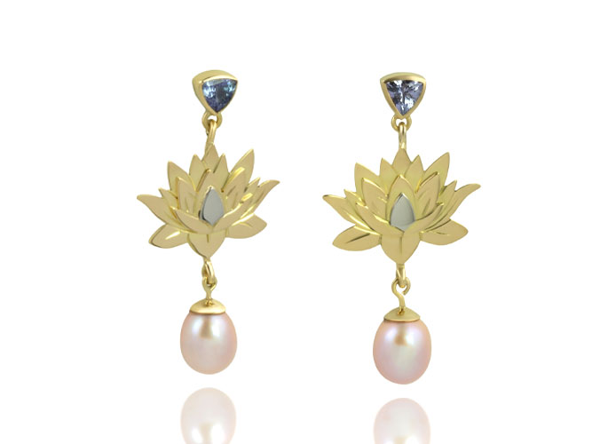 Lotus-flower-earrings-gold-pearl-tanzanite-feat